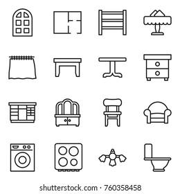 Thin line icon set : arch window, plan, rack, restaurant, curtain, table, nightstand, wardrobe, dresser, chair, armchair, washing machine, hob, hard reach place cleaning, toilet