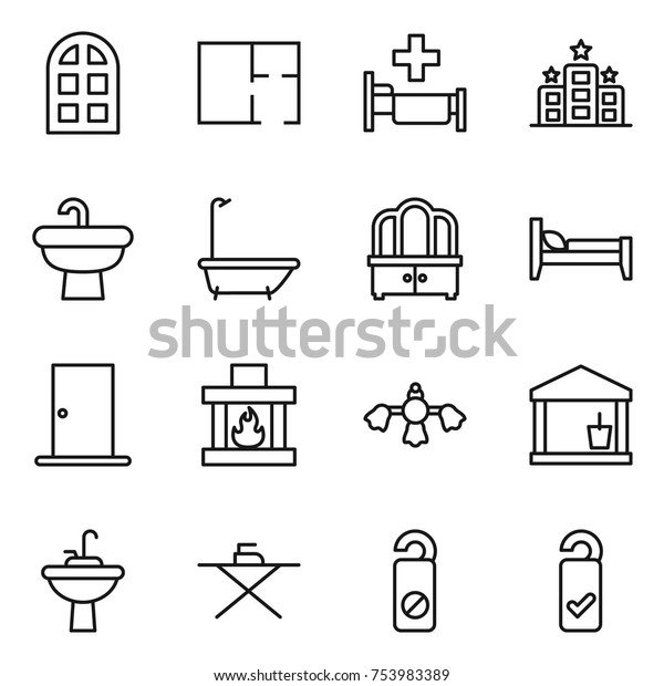 Thin Line Icon Set Arch Window Stock Vector (Royalty Free
