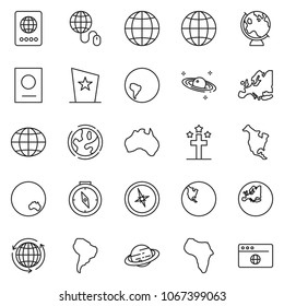 thin line icon set - around the world vector, globe mouse, africa, memorial day, earth, south america, north, australia, europe, compass, passport, saturn, browser