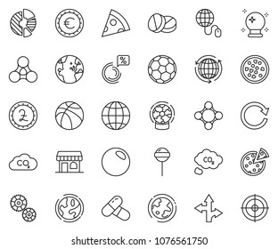 thin line icon set - around the world vector, globe mouse, circle chart, pound sign, euro, pizza, lollypop, magic ball, earth, gear, co2, ticket office, route, pills, social, friends, reload, soccer