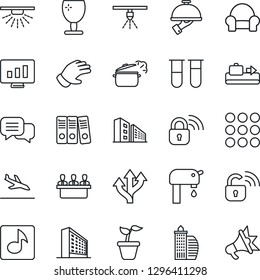 Thin Line Icon Set - arrival vector, baggage conveyor, office building, statistic monitor, seedling, glove, blood test vial, route, fragile, dialog, menu, music, paper binder, meeting, water supply