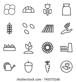 thin line icon set : atom core, greenhouse, perishable, flour, spikelets, seeds, field, harvest, seedling, sprouting, flower, factory, watering can, acorn, carrot, ecology