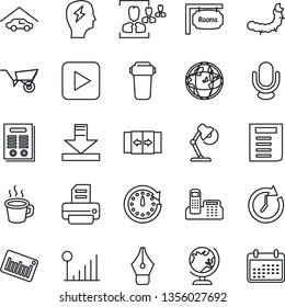 Thin Line Icon Set - automatic door vector, globe, document, brainstorm, printer, wheelbarrow, caterpillar, barcode, microphone, play button, download, cellular signal, coffee, hr, ink pen, contract