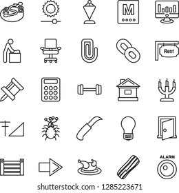 Thin Line Icon Set - baby room vector, right arrow, pennant, bulb, statistic monitor, house, garden knife, barbell, virus, container, route, chain, brightness, cellular signal, drawing pin, rent