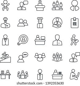 Thin Line Icon Set - baby vector, reception, speaking man, pedestal, manager place, doctor, client, speaker, group, user, identity card, desk, meeting, career ladder, company, search, estate agent