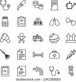 Thin Line Icon Set - baby vector, medical room, rake, watering can, doctor case, diagnosis, stethoscope, syringe, blood pressure, dropper, pills, bottle, ambulance car, hospital bed, lungs, diet