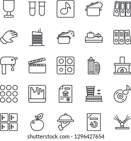 Thin Line Icon Set - baggage conveyor vector, airport building, checkroom, document reload, glove, blood test vial, fragile, clapboard, menu, scanner, music, application, paper binder, water supply