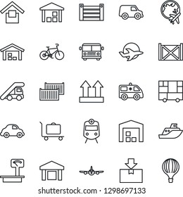Thin Line Icon Set - baggage trolley vector, airport bus, train, ladder car, plane, globe, ambulance, bike, sea shipping, cargo container, delivery, consolidated, warehouse storage, up side sign