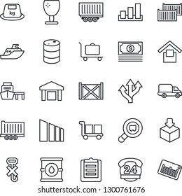 Thin Line Icon Set - baggage trolley vector, route, cash, 24 hours, sea shipping, truck trailer, cargo container, car delivery, port, clipboard, fragile, warehouse storage, no hook, package, sorting