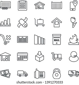 Thin Line Icon Set - baggage trolley vector, satellite, cash, office phone, support, mobile tracking, truck trailer, cargo container, car delivery, term, clipboard, warehouse storage, no, tulip