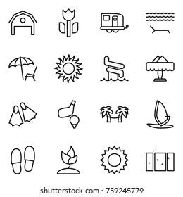 Thin line icon set : barn, perishable, trailer, lounger, sun, aquapark, restaurant, flippers, golf, palm hammock, windsurfing, slippers, sprouting, clean window