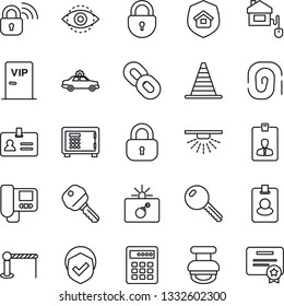 Thin Line Icon Set - barrier vector, alarm car, bomb in case, identity, border cone, safe, lock, card, shield, chain, eye id, stamp, key, estate insurance, vip zone, home control, wireless, pass