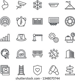 Thin Line Icon Set - barrier vector, ticket office, luggage scales, plane globe, building, ladder, bench, pills, heart shield, stomach, virus, truck trailer, heavy, barcode, alarm, photo gallery