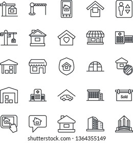 Thin Line Icon Set - barrier vector, elevator, house, greenhouse, hospital, store, warehouse storage, garage, sold signboard, office building, sweet home, crane, estate insurance, control app