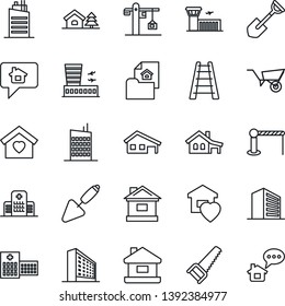 Thin Line Icon Set - barrier vector, airport building, office, trowel, shovel, ladder, wheelbarrow, saw, house, hospital, with garage, tree, estate document, sweet home, city, crane, message