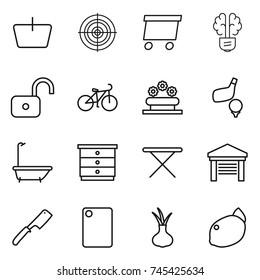 thin line icon set : basket, target, delivery, bulb brain, unlock, bike, flower bed, golf, bath, chest of drawers, iron board, garage, chef knife, cutting, onion, lemon