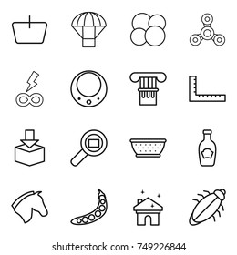 thin line icon set : basket, parachute, atom core, spinner, infinity power, necklace, column, ruler, package, cargo search, colander, ketchup, horse, peas, house cleaning, bug