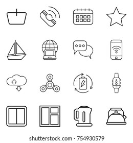 thin line icon set : basket, call, calendar, star, boat, notebook globe, discussion, phone wireless, cloude service, spinner, battery charge, smart watch, power switch, window, kettle