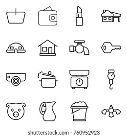 Thin line icon set : basket, wallet, lipstick, house with garage, dome, home, water tap, key, surveillance camera, steam pan, kitchen scales, handle, pig, jug, foam bucket, hard reach place cleaning