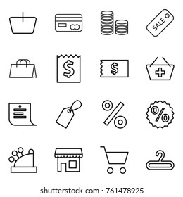 Thin line icon set : basket, card, coin stack, sale, shopping bag, receipt, add to, list, label, percent, cashbox, shop, cart, hanger