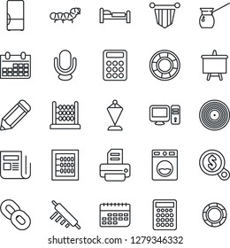 Thin Line Icon Set - bed vector, pennant, presentation board, calendar, pencil, printer, caterpillar, term, vinyl, news, microphone, chain, calculator, abacus, fridge, rolling pin, turkish coffee