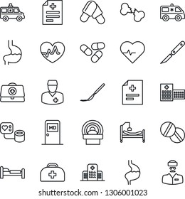 Thin Line Icon Set - bed vector, medical room, heart pulse, doctor case, diagnosis, blood pressure, pills, scalpel, tomography, ambulance car, hospital, stomach, broken bone