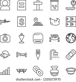 Thin Line Icon Set - bed vector, shower, boarding, checkroom, pennant, document, plant label, seeds, picnic table, patch, signpost, navigation, earth, plane, receipt, heavy scales, camera, chain