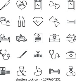 Thin Line Icon Set - bed vector, heart pulse, doctor case, diagnosis, stethoscope, blood pressure, ampoule, scalpel, tomography, ambulance car, hospital, stomach, broken bone, clipboard