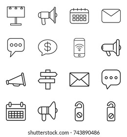 thin line icon set : billboard, loudspeaker, calendar, mail, message, money, phone wireless, megafon, singlepost, sms, do not distrub