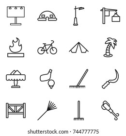 thin line icon set : billboard, dome house, outdoor light, loading, flammable, bike, tent, palm, restaurant, golf, rake, sickle, farm fence, blower