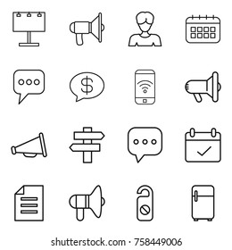 Thin line icon set : billboard, loudspeaker, woman, calendar, message, money, phone wireless, megafon, singlepost, sms, terms, document, do not distrub, fridge