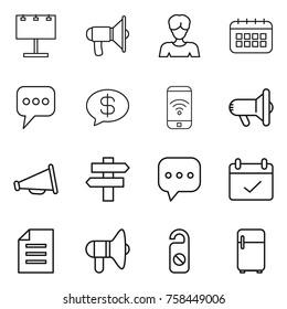 Thin line icon set : billboard, loudspeaker, woman, calendar, message, money, phone wireless, megafon, singlepost, sms, terms, document, do not distrub, fridge