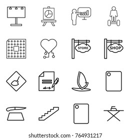 Thin line icon set : billboard, presentation, hoverboard, cpu, cardio chip, store signboard, shop, under construction, inventory, windsurfing, cutting board, stairs, iron
