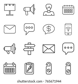 Thin line icon set : billboard, loudspeaker, woman, calendar, mail, message, money, phone wireless, megafon, singlepost, sms, clipboard pen, do not distrub