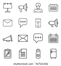 Thin line icon set : billboard, loudspeaker, woman, calendar, mail, message, phone wireless, megafon, sms, clipboard pen, document, do not distrub, fridge