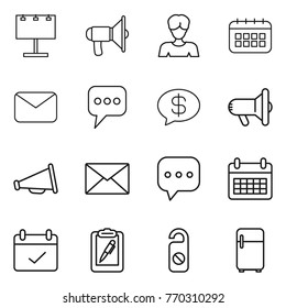 Thin line icon set : billboard, loudspeaker, woman, calendar, mail, message, money, megafon, sms, terms, clipboard pen, do not distrub, fridge