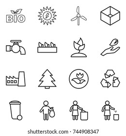 thin line icon set : bio, sun power, windmill, box, water tap, seedling, sprouting, hand leaf, factory, spruce, ecology, recycling, trash bin, garbage