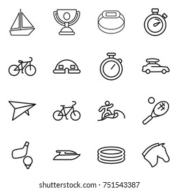 thin line icon set : boat, trophy, smart bracelet, stopwatch, bike, dome house, car baggage, deltaplane, surfer, tennis, golf, yacht, inflatable pool, horse