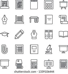 Thin Line Icon Set - book vector, calculator, graduate, abacus, desk, notepad, presentation board, pencil, contract, microscope, copybook, paper clip, ink pen