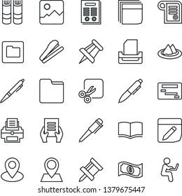 Thin Line Icon Set - book vector, pen, document, drawing pin, gallery, folder, notes, cut, blank box, printer, paper tray, contract, stapler, serviette, cash, schedule, man with notebook