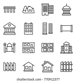 Thin line icon set : bridge, project, houses, goverment house, library, building, skyscrapers, fence, minaret, modular, panel, home