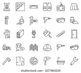 thin line icon set - brush vector, wrench gear, drill, trowel, loader, helmet, construction level, airbrush, stairways, cement bag, winch, paint roller, work glove, plan, protective glasses, bath
