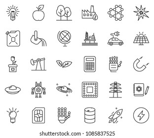 thin line icon set - bulb vector, offshore oil platform, sun panel, jack, leaf, barrel, power line pillar, forest, eco factory, canister, cpu, sim card, metallurgy, robot hand, logbook, rocket, bang