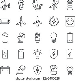 Thin Line Icon Set - bulb vector, battery, low, protect, charge, desk lamp, windmill, socket, power plug, energy saving, idea