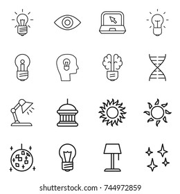 thin line icon set : bulb, eye, notebook, head, brain, dna, table lamp, goverment house, sun, disco ball, floor, shining