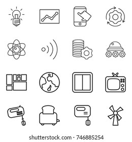 thin line icon set : bulb, statistics, touch, around gear, atom, wireless, virtual mining, lunar rover, consolidated cargo, earth, power switch, tv, mixer, toaster, windmill