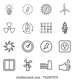 thin line icon set : bulb, lightning, sun power, windmill, nuclear, battery charge, chip, spark plug, barometer, electricity, socket, switch, factory, hand drop