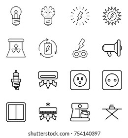 thin line icon set : bulb, brain, lightning, sun power, nuclear, battery charge, infinity, megafon, spark plug, air conditioning, socket, switch, coffee maker, iron board