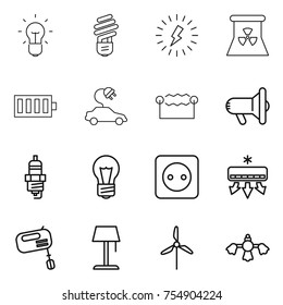 thin line icon set : bulb, lightning, nuclear power, battery, electric car, electrostatic, megafon, spark plug, socket, air conditioning, mixer, floor lamp, windmill, hard reach place cleaning