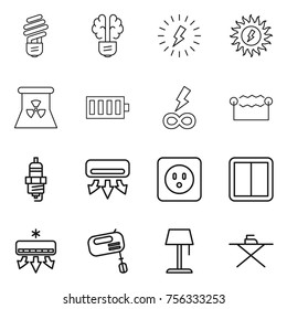 Thin line icon set : bulb, brain, lightning, sun power, nuclear, battery, infinity, electrostatic, spark plug, air conditioning, socket, switch, mixer, floor lamp, iron board